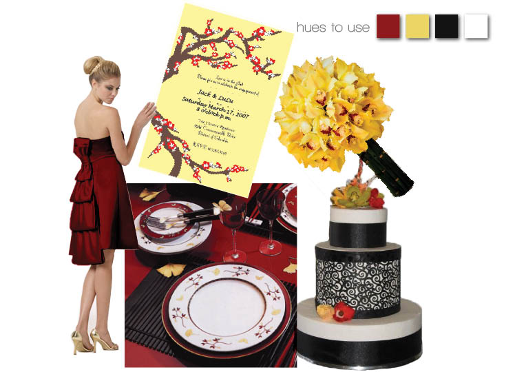 cranberry red and vibrant yellow
