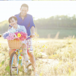Engagement shoot with bike and flowers