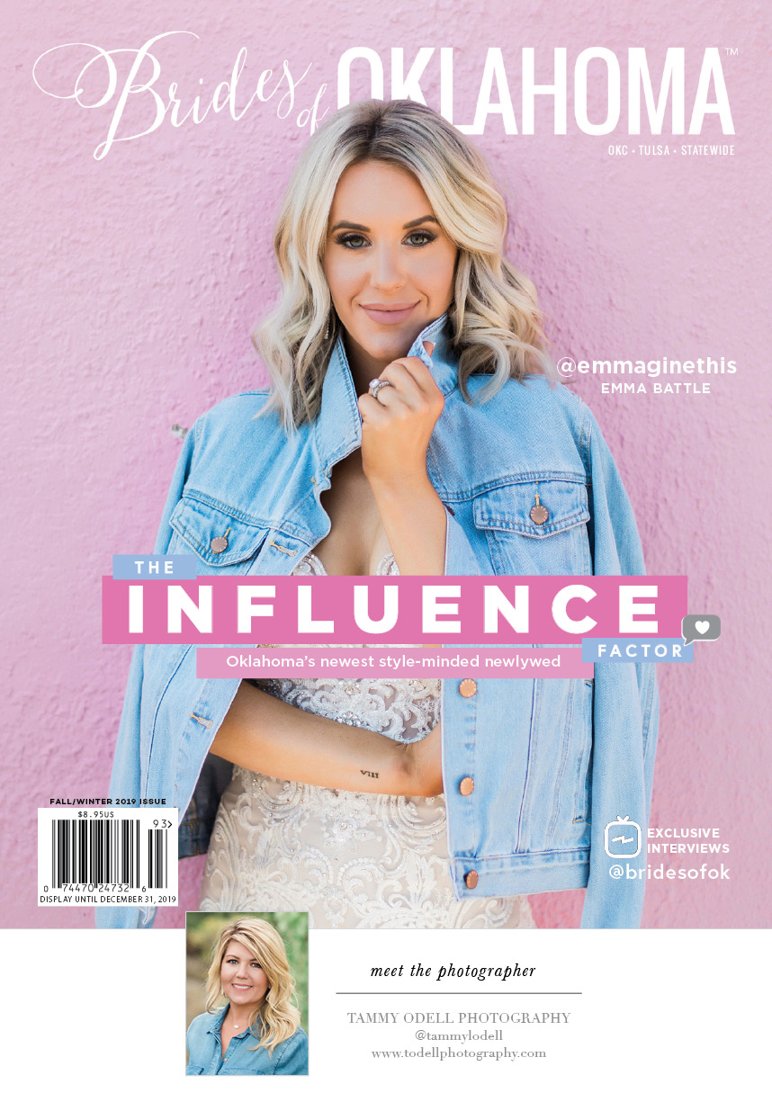 brides of oklahoma magazine fall winter 2019 cover emma battle