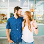 colorful ice cream shop engagement session from lauren beauregard photography