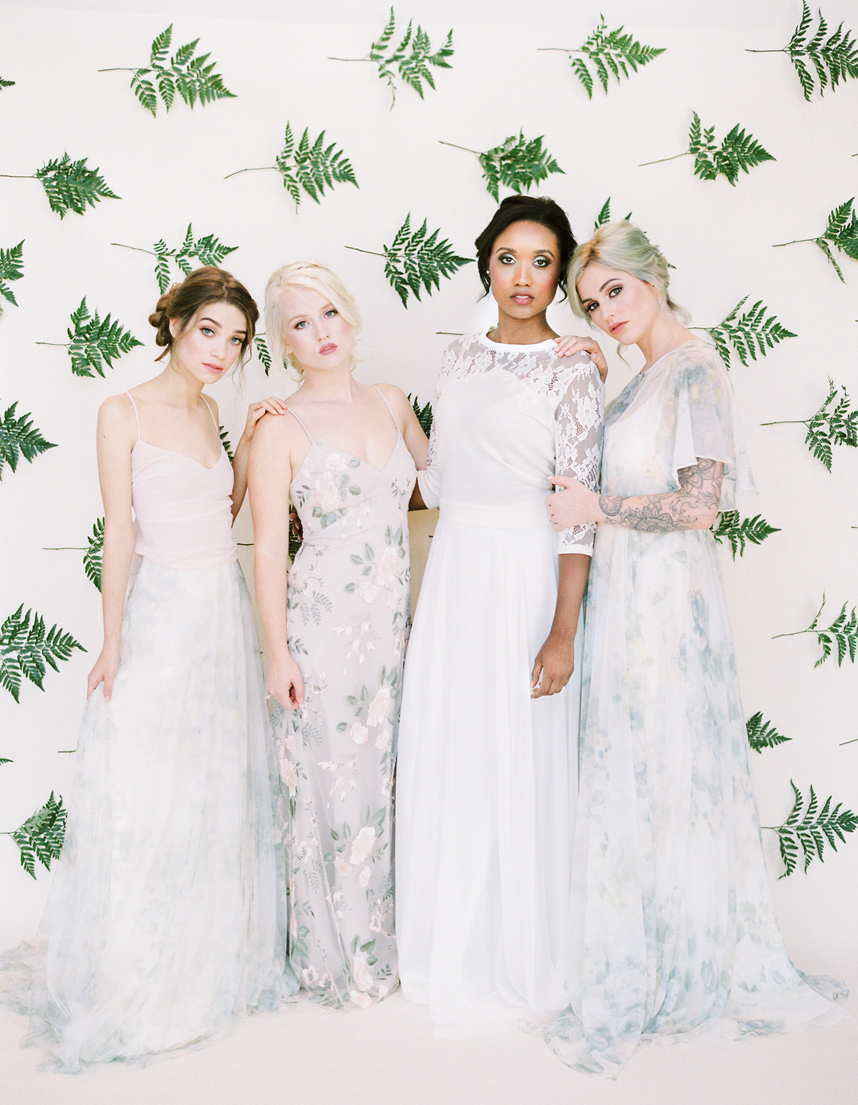 4 girls in bridal attire - enneagram type as a brides