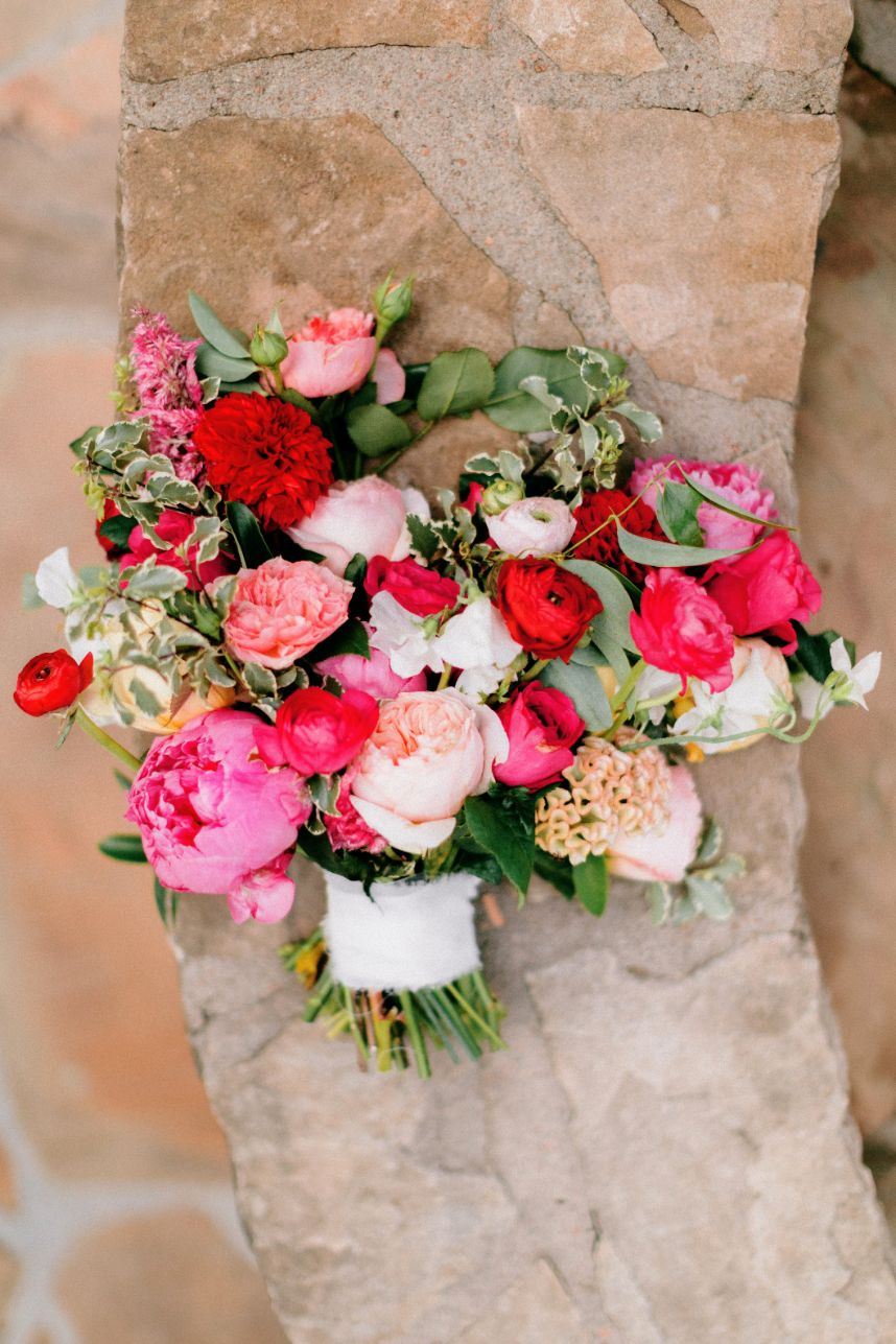 woodland romance wedding from malyn made featuring bold pink florals