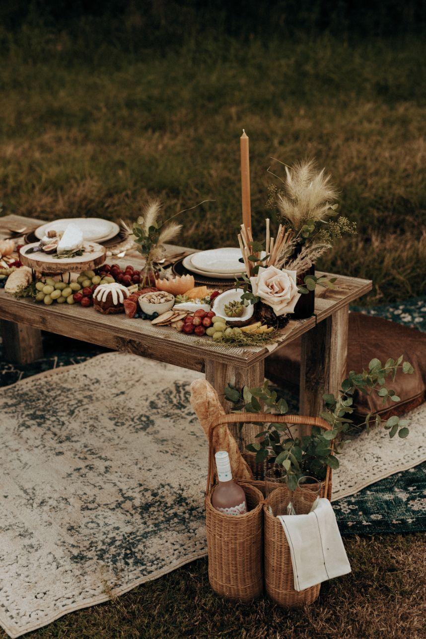 Mod Boho Elopement Inspiration Oklahoma Wedding Catering Caterer OK Graze Charcuterie Oklahoma Wedding Decor Rentals Runaway Belle Vintage Rentals