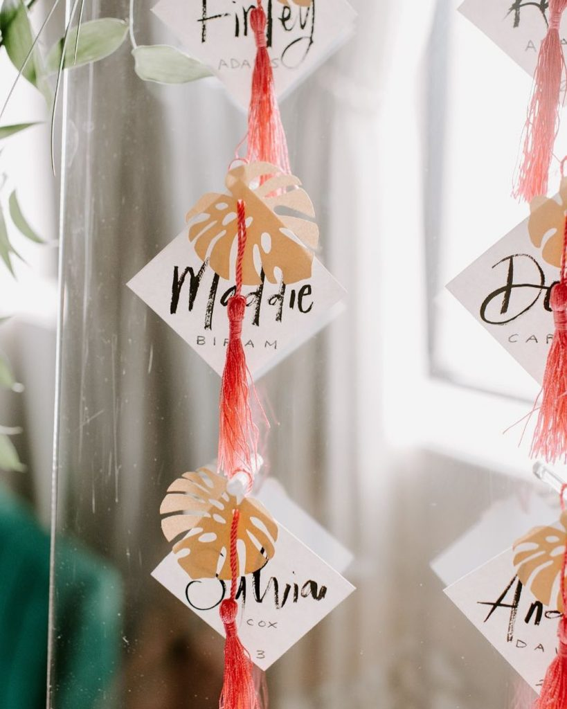 Q: What's that vibe?? A: Modern Gatsby, but make it tropical! We love these one-of-a-kind escort cards that include laser-cut