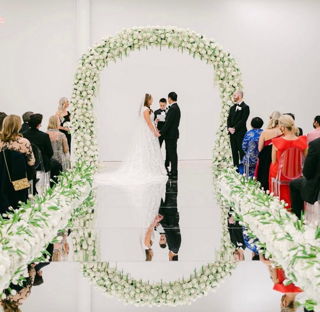 Optical Illusion Check: Wedding aisle made from mirrors, leading up to a drop-dead-gorgeous white floral altar from thefleuriste. // Photo: