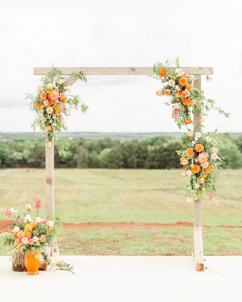 "From the florist, Callie Schmidt of theflowershoppryor: ""This colorful garden styled shoot was so bright and fun! I loved the"