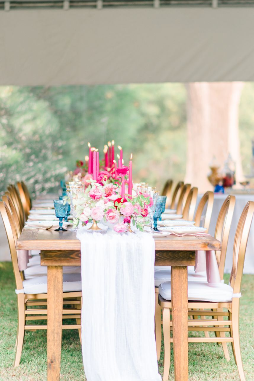 luxe pink tablescape