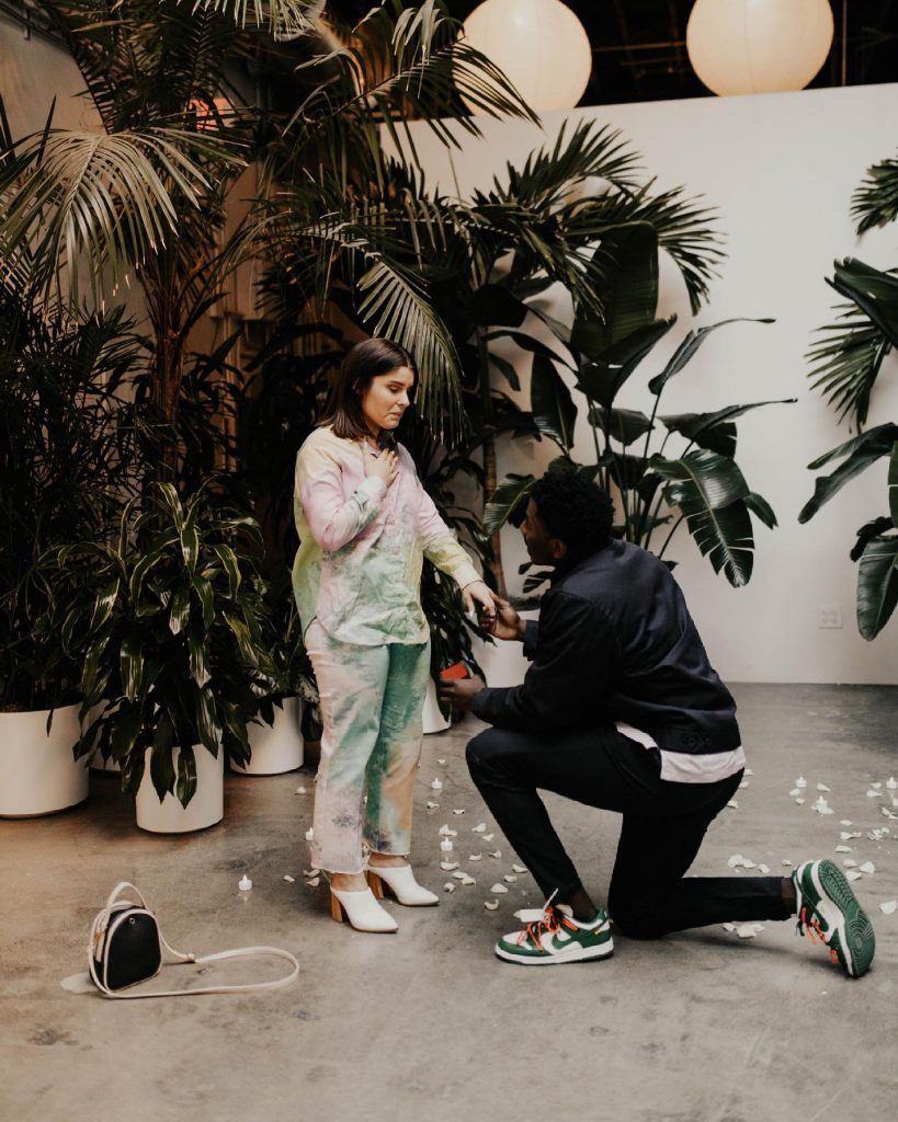 Theo enlisted some help to put together a romantic proposal setup where he surprised Sarah – once by asking her