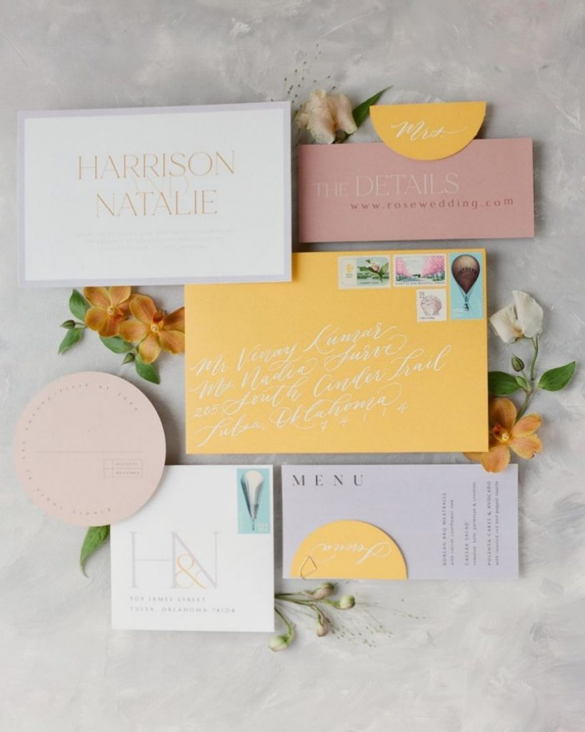& it was all YELLOW! ????????? Sunshine brides, where ya at? This bright invitation suite from laurelandmarie is sending sun